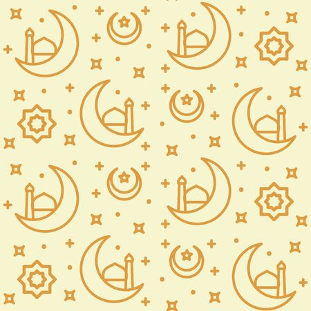 muslim pattern icon crescent moon star half mosque ornament with outline style flat design vector