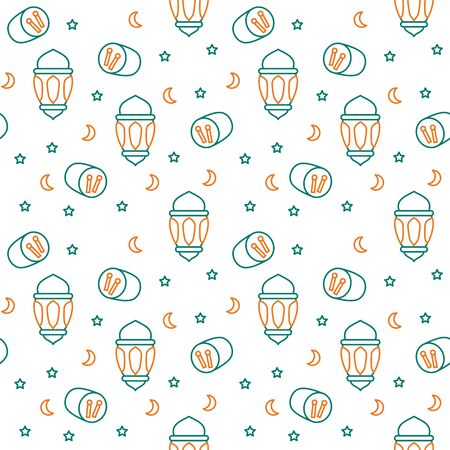 Lantern icon pattern spread bedug drum crescent moon lamp antique with dual tone color flat style design vector.