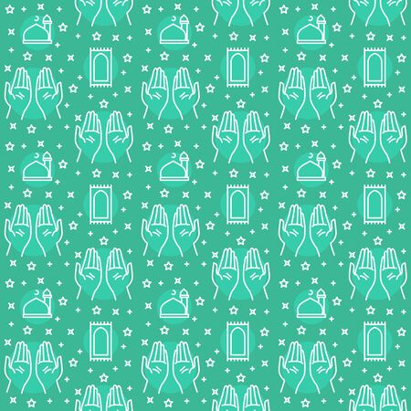 Praying hand pattern icon mosque dome turkey carpet star with filled color background green theme flat style design vector.