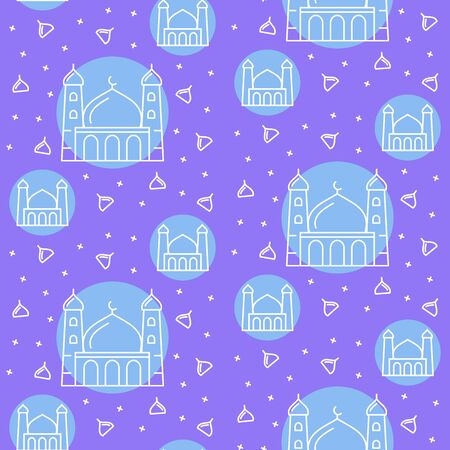 Islamic pattern icon mosque tower dome religious star moon arts decoration with filled color background blue theme flat style design vector
