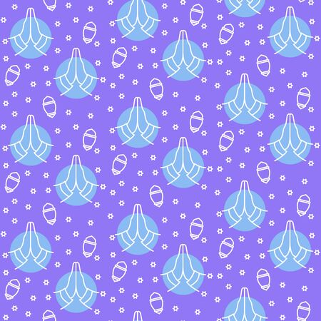 islamic moslem pattern icon with hand pray or praying with filled color background blue theme flat style vector illustration Illustration