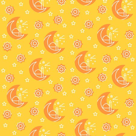 Islamic pattern icon half moon ornament mosque star with filled color background oerange theme flat style design vector.
