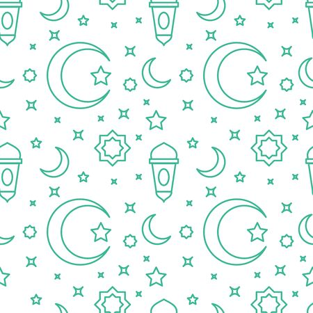 Islam pattern icon crescent moon lantern ornament star with outline style flat design vector