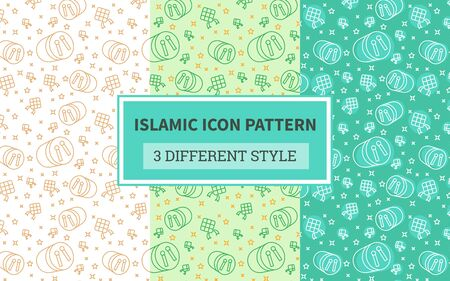 Islamic icon pattern bedug drum music percussion ketupat rice cake boiled with bundling version three different green theme style flat vector design.