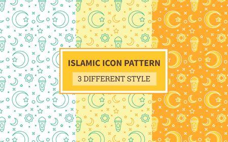 Islamic icon pattern lantern crescent moon ornament star with bundling version three different orange theme style flat design vector design. Illustration
