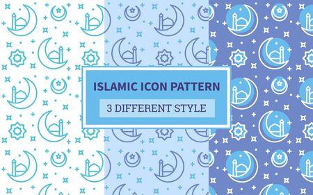 Islamic icon pattern lantern crescent moon ornament star with bundling version three different blue theme style flat design vector