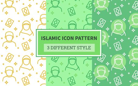 Islamic icon pattern muslim man woman hijab holy quran religious star with bundling version three different green theme style flat design vector.