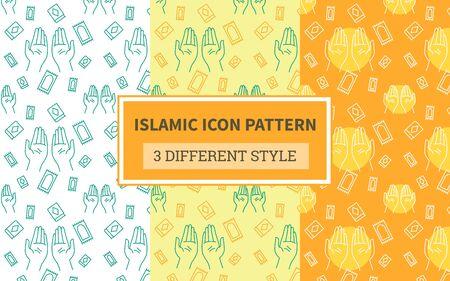 Islamic icon pattern praying hand religion carpet decoration quran with bundling version three different orange theme style flat vector design. Illustration