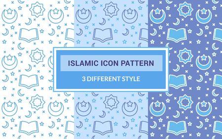 Islamic icon pattern praying hand religion carpet decoration quran with bundling version three different blue theme style flat vector design.