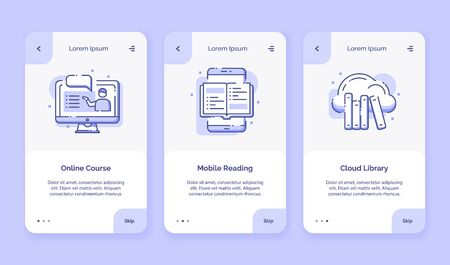 Onboarding icon online course mobile reading cloud library for campaign mobile apps home landing page template with outline style flat design vector