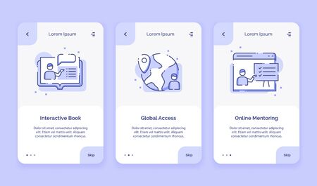 Onboarding icon online course interactive book global access online mentoring campaign for mobil apps home landing page template with outline style flat style design vector illustration. Ilustração