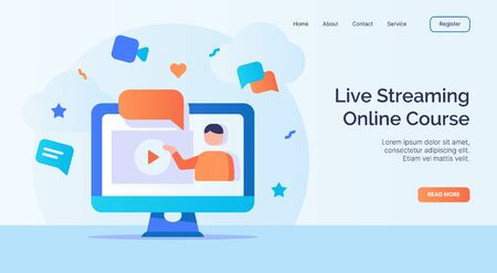 Live streaming online course for campaign web website home homepage landing page template with filled color modern flat style design vector illustration