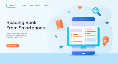 Reading book from smartphone for campaign web website home homepage landing page template with filled color modern flat style design vector illustration Illustration