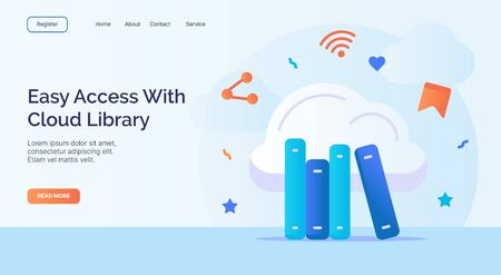 Easy access with cloud library for campaign web website home homepage landing page template with filled color modern flat style design vector illustration