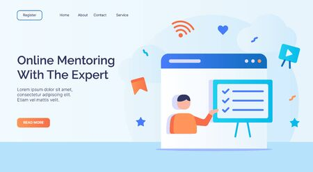 Online Mentoring with the expert for campaign web website home homepage landing page template with filled color modern flat style design vector illustration