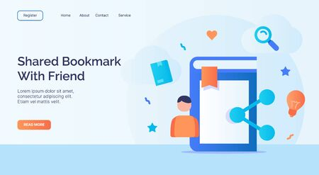 Shared bookmark with friend for campaign web website home homepage landing page template with filled color modern flat style design vector illustration