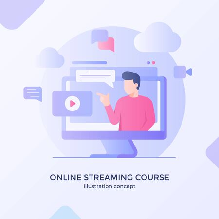 Online streaming course video training application multimedia player modern flat cartoon style vector design.