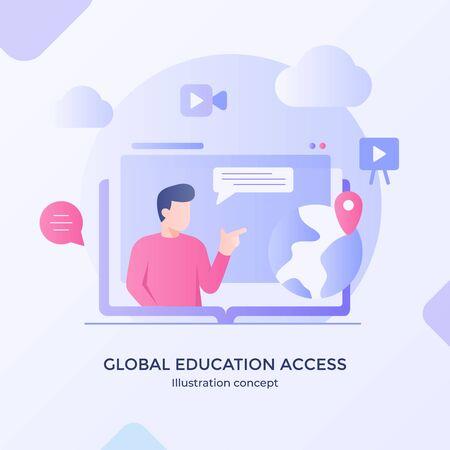 Global education access international development training with modern flat cartoon style vector design.