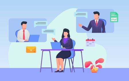 Business web meeting video conference woman and mans discussion internet technology with modern flat cartoon style vector design