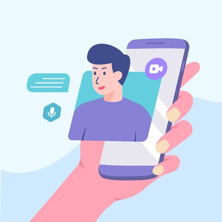 Picture man talking on smartphone screen. video call concept modern flat cartoon style vector design, Illustration