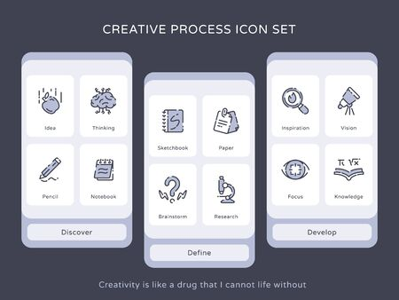Creative process icon set idea thinking pencil notebook sketchbook brainstorm research vision focus knowledge with chromatic color modern flat design vector illustration Illustration