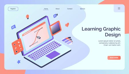Learning graphic design campaign for web website home homepage landing template banner modern flat style vector illustration