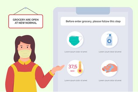Grocery store female employee show poster about visitor procedure before entering shop in new normal era after corona virus pandemic modern flat cartoon style vector design illustration