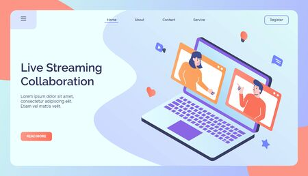 Live Streaming Collaboration campaign for web website home homepage landing page banner full color style modern flat design vector illustration