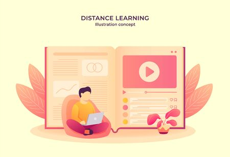 Man operating laptop reading e-book watching video tutorial. distance learning concept modern flat cartoon style vector illustration Illustration