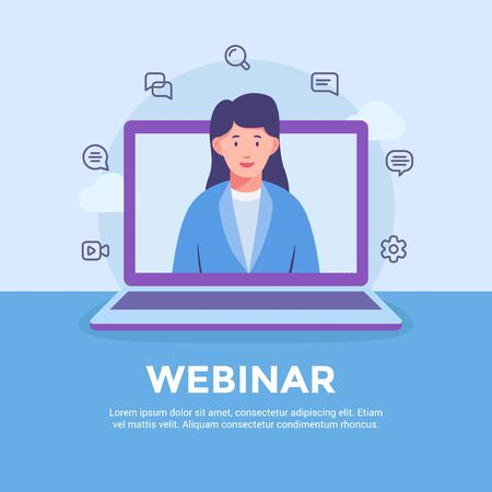 webinar website learning education online with woman or female teaching course on laptop screen with modern flat style