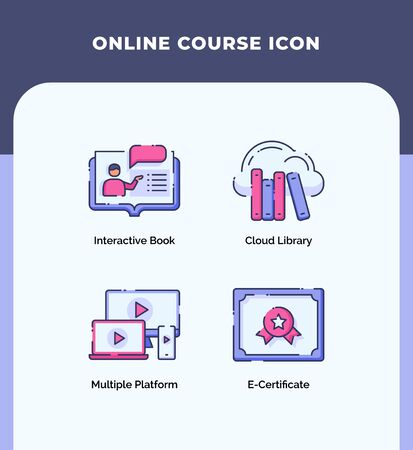 Preview online course icon interactive book cloud library multiple platform e-certificate with outline filled color modern flat style vector design.