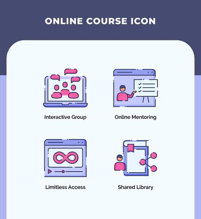 Preview online course icon interactive group online mentoring limitless access shared library with outline filled color modern flat style vector design.