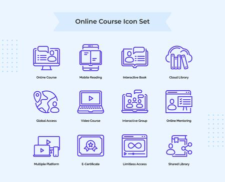 Online Course icon set collection mobile reading interactive book cloud library global access online mentoring with outline style flat vector design illustration.
