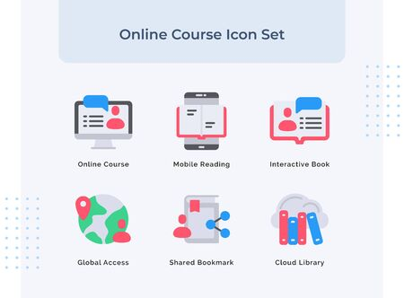 Preview online course icon set mobile reading interactive book global access shared bookmark cloud library with filled color modern flat style vector design.