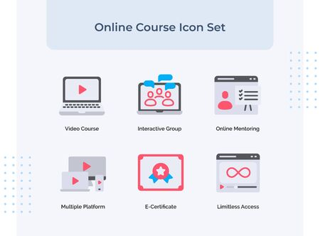 Preview online course icon set video course interactive group online mentoring multiple platform e-certificate limitless access with filled color flat style vector design