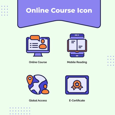 Preview online course icon mobile reading global access e-certificate with outline filled color modern flat style vector design. Ilustracja