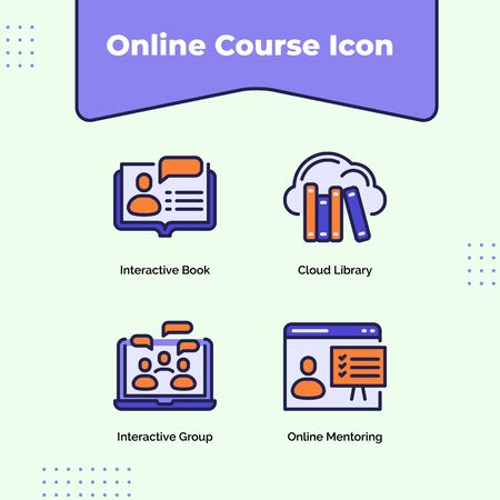 Preview online course icon interactive book cloud library interactive group online mentoring with outline filled color modern flat style vector design.
