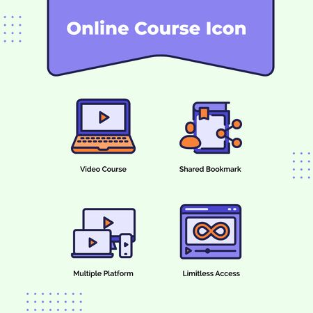 Preview online course icon video course shared bookmark multiple platform limitless access with outline filled color modern flat style vector design. Illustration
