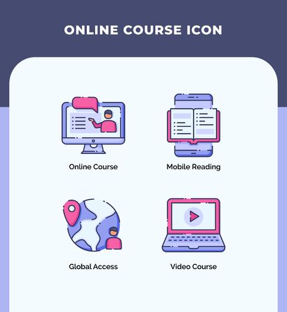Preview online course icon mobile reading global access video course with outline filled color modern flat style vector design.