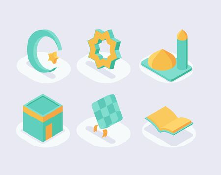 moslem icon set collection with isometric style and green color theme vector illustration