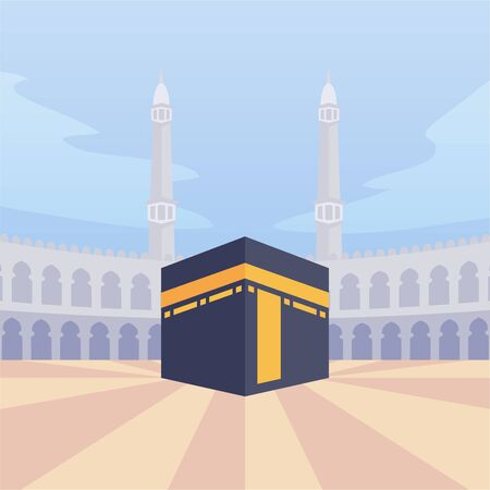 arabian moslem kaba mecca with modern cartoon flat style vector illustration