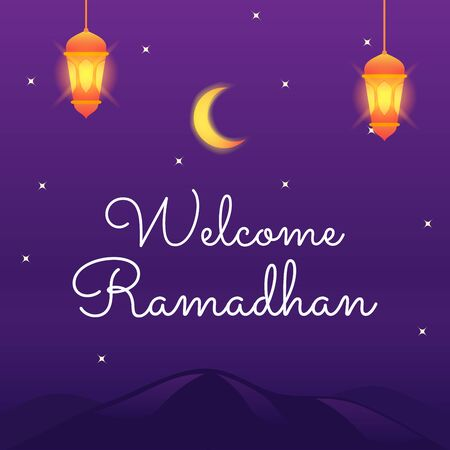 Welcome ramadhan template crescent moon hanging lantern spread star in the night modern flat cartoon style vector illustration