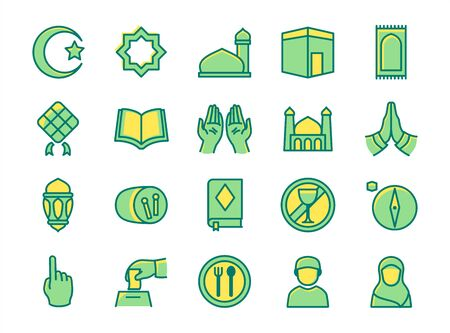 Islamic icon set praying hand mosque crescent moon kabah quran fasting lantern compass with filled color outline style flat design vector illustration.