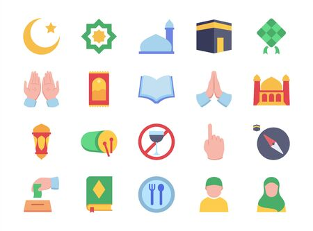Moslem icon set mosque praying hand mosque crescent moon rug fasting lantern apologize filled color style flat design vector illustration.