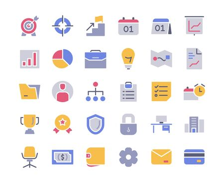 Business icon set full color with style modern flat design vector illustration