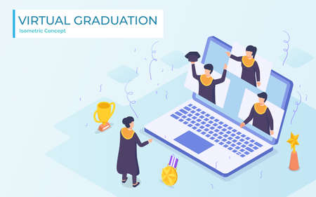 Virtual graduation video conference use laptop university college high school student ceremony wearing toga from home virus corona pandemic impact.flat cartoon style vector design. Ilustrace
