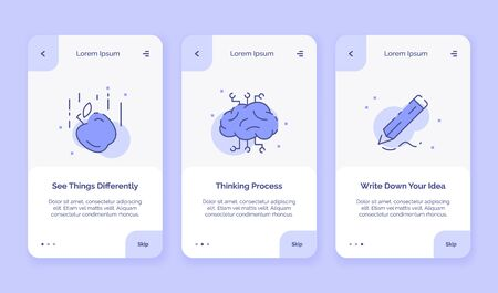 Onboarding icon creative see things differently thinking process write down your idea campaign for mobil apps landing template flat style vector design