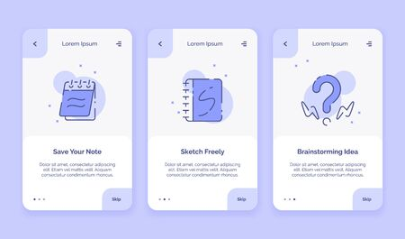 Onboarding icon creative save your note sketch freely brainstorming idea campaign for mobil apps landing template flat style vector design