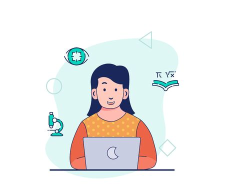 Smart woman working on laptop thinking focus research analysis learning education project in creative process with flat cartoon style vector design