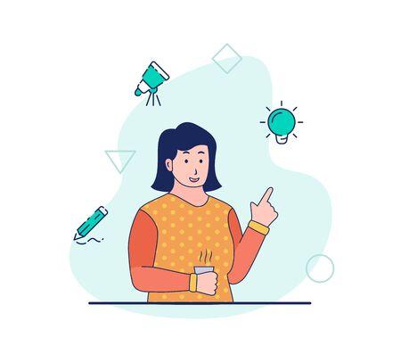 Creative designer woman work get idea innovation brainstorming research development sketch drawing design in creative process with modern flat cartoon style vector design. Illustration
